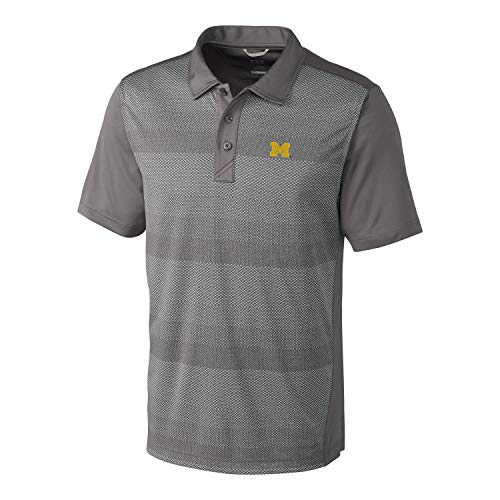Cutter & Buck NCAA Michigan Wolverines Short Sleeve Crescent Print Polo, Small, Elemental Grey