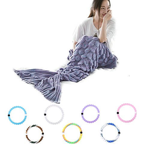 [Soft Warm Sofa Blanket Hand Crocheted Knitting Wool Fish Scale Mermaid Tail Blanket Bed Bedding Sea tail Sleeping Bag, Snuggle Mermaid Costume Sofa Bed Nap Blanket (New Lilac] (Goddess Of Love Costume For Kids)