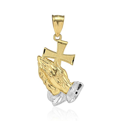 (10k Yellow Gold Diamond Cut Cross Praying Hands Religious Charm)