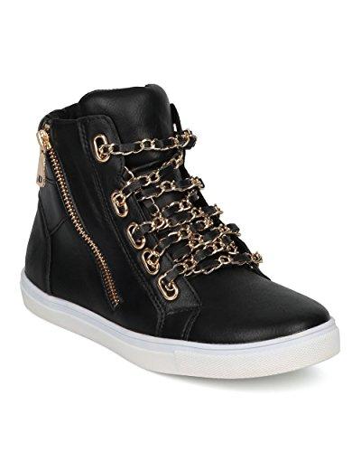 Sneaker Alrisco Da Donna - Sneaker Allacciato A Catena - Sneakers Casual Alla Moda - Di Liliana Collection Similpelle Nera