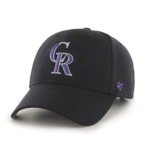 ('47 MLB Colorado Rockies Juke MVP Adjustable Hat, One Size, Black)