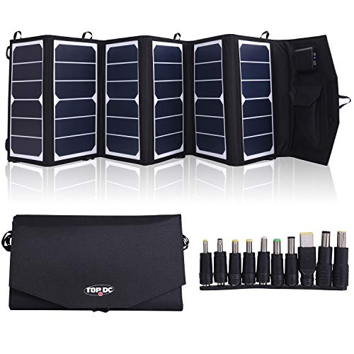 TOPDC 39W High Efficiency 22% Foldable Solar Panel Charger with 5V USB 18V DC Dual Output Camping Travel Charger for Laptop Tablet GPS iPhone iPad Android Camera Other 5-18V Device (Best Portable Solar Charger For Laptops)
