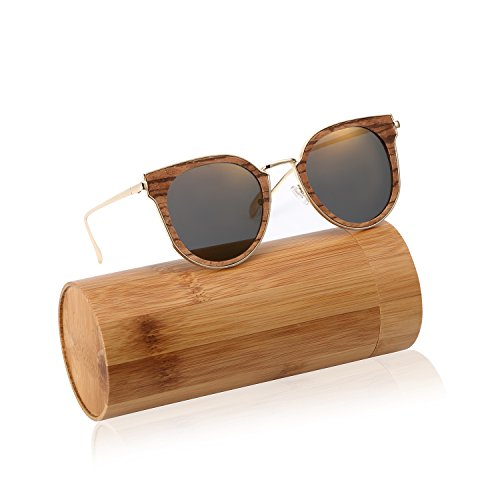 CREAST Handmade Wood Polarized Sunglasses, Women Wayfarer Shades, Unique - Made Out Wood Sunglasses Of