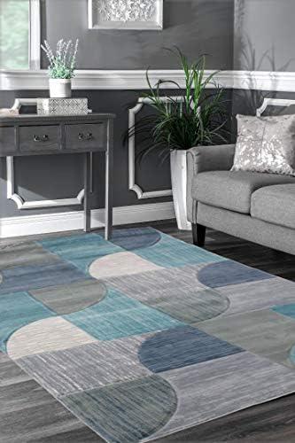 Viventez Maria Collection Modern Abstract Aqua Blue Grey Area Rug Carpet 7 9 x9 6