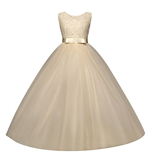 Flower Girls Sleeveless Long Pageant Dresses Maxi Lace Gown for Kids Formal Wedding Bridesmaid Princess Dress Big Girls Summer First Communion Party Prom Puffy Tulle Skirt Champagne Size 9-10 Years ()