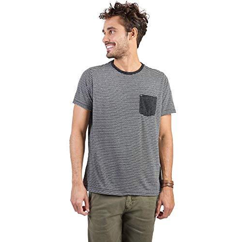 T-Shirt Com Bolso Listrada Grafite Grafite/P