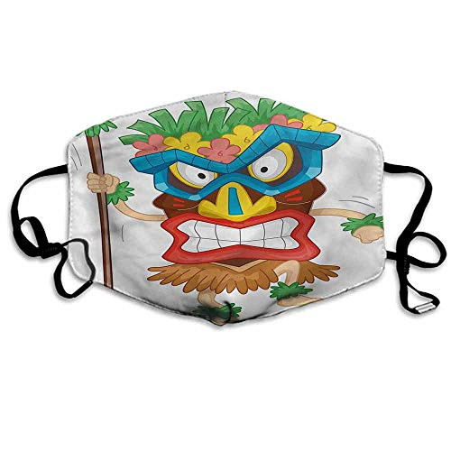 Tiki Bar Fashion Mouth Mask Native Costume for Cycling Camping Travel W4