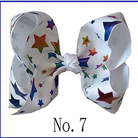 "50 BLESSING National Flag 8/"" ABC Hair Bow Clip 3/"" Grosgrain Ribbon Rainbow 49#"