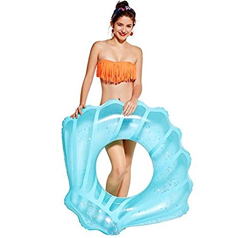 Giant Pool Party Ring Vacation Swimming Circle 45 x 35 x 12inches Pink NAKORNO Inflatable Swim Rings Seashell Shape Swim Tube Funny Pool Floats or Summer Outdoor Beach Toy for Adults Kids