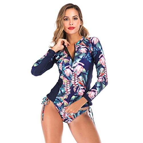 Women Floral Print One Piece Diving Suits, UPF50+ Long Sleeve Zipper Rash Guard, Summer Beach Swimsuit for Sports Swimming/Scuba Diving/Snorkeling/Surfing