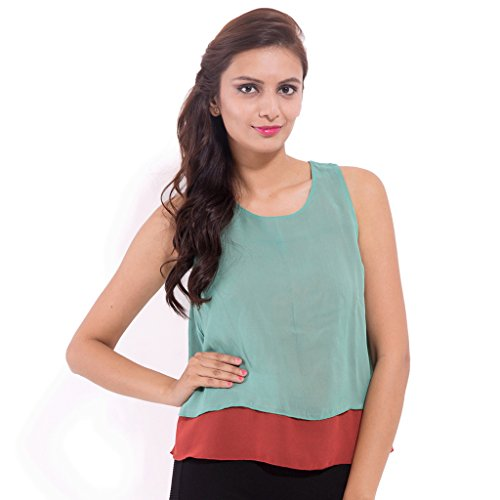 GOODWILL Women #39;s Casual Solid Sleeves Green Top