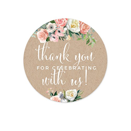 Andaz Press Peach Coral Kraft Brown Rustic Floral Garden Party Wedding Collection, Round Circle Gift Tags, Thank You for Celebrating with US, 24-Pack