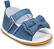 Meckior Summer Infant Baby Girls Sandals Striped Bowknot Soft Rubber Sole First Walker Shoes