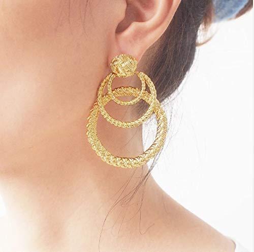 JD Million shop Rough Surface Metal Circular Stud Earrings for Women Punk Geometric Statement Earring Fashion Jewelry Accessories ()