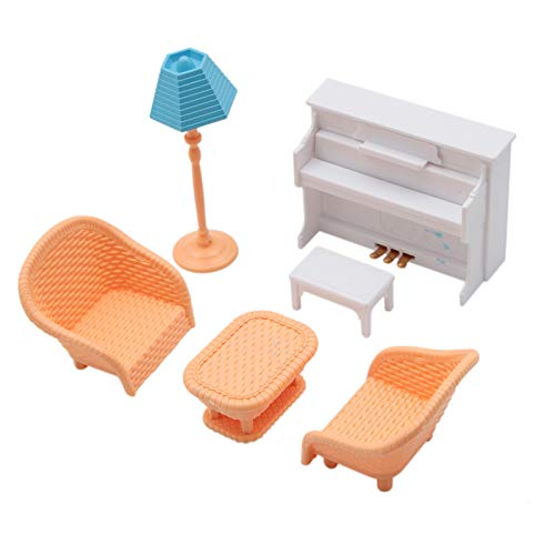 WSSROGY 1:12 Scale Piano Sofa Lamp Set Dollhouse Miniature Furniture Toy Doll Home Decor from WSSROGY