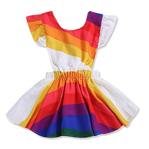 MILWAY Baby Girls Rainbow Playwear Short Sleeve Bowknot Dresses Sets (90/1-2Y, White)]()