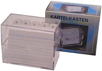 Karteikasten A7 quer transparent mit Register 100 Karteikarten 790-193-0000