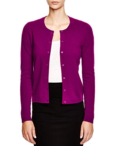 - C By Bloomingdale's Womens Crewneck Cashmere Cardigan Boysenberry, XS