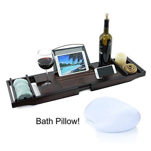 Bamboo Bathtub Caddy Tray, Bathtub Frame with Extended Surface, Bathtub Universal Adjustable Book Computer Stand, Wine Glass Holder (Holz 4 Sie)