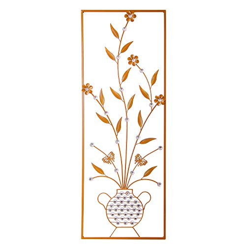 Flower and Leaves Aluminum/Metal Wall Decor with Frame 37.5