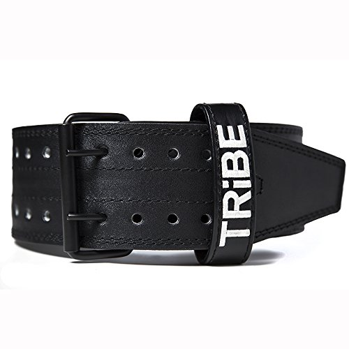 "Leather Weight Lifting Belt by Tribe Lifting - Perfectly Fits Men and Women - Comfortable and Durable Design with All Around 4"" Width Support - Deadlifts, Squat, Crossfit, Powerlifting (Medium)"
