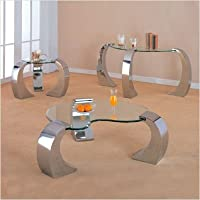 Clayton Bevelled Kidney Occasional Coffee Table Set in Chrome