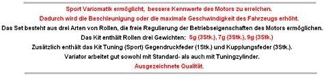Unbranded Sport Racing VARIOMATIK Riemen Scheibe KOMPLETT f/ür Pegasus R50X RX Skipper 50