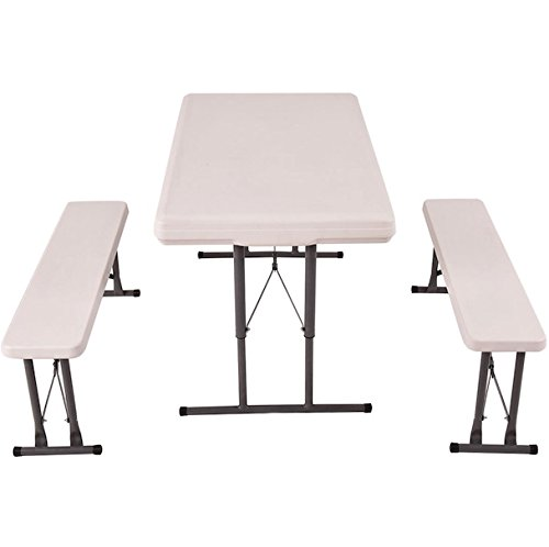 Almacén Outdoor Folding Garden Table And Bench Set Foldable Design Picnic Patio Backyard Camping Hiking Portable Furniture Waterproof Impact Stain Resistant Tops Height Adjustable Table