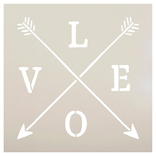 Love Rustic Crossed Arrows Stencil by StudioR12 | Charming Rustic - Reusable Mylar Template | Painting, Chalk, Mixed Media | DIY Home Decor - STCL1754_1 | SELECT SIZE | (8