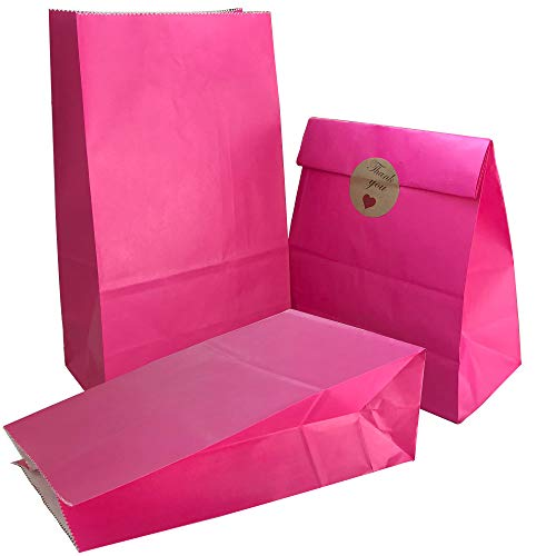 Party Bag 50 pcs Food Safe Kraft Paper and Ink, Natural (Biodegradable), Vivid Colored Candy Cookie Buffet Bags, Bottom Square Bag.Hot Pink.with 48 pcs Thank You Stickers 1.5 -