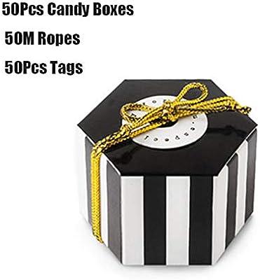 MYA - Lote de 50 Cajas de Regalo hexagonales con Cinta Dorada y Tarjeta Redonda, Hexagonal, para bautizos, Bodas, Fiestas de Navidad: Amazon.es: Hogar