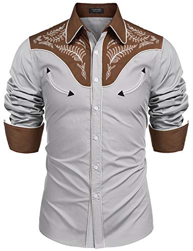 - COOFANDY Men's Western Shirts Long Sleeve Slim Fit Embroidered Casual Cotton Button Down Shirt