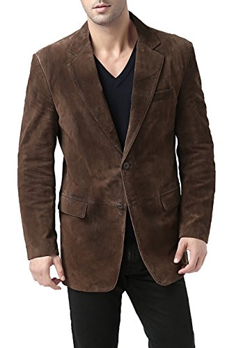 BGSD Men's Cliff 2-Button Suede Leather Blazer,Brown,Large