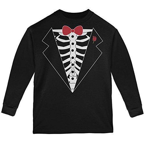 Tuxedo Skeleton Costume Black Youth Long Sleeve T-Shirt - Youth Small (Tuxedo Mask Costume For Kids)