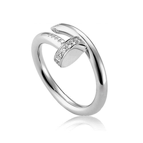 (Helen de Lete Simple Rhinestone Nail Sterling Silver Open Ring-silver)