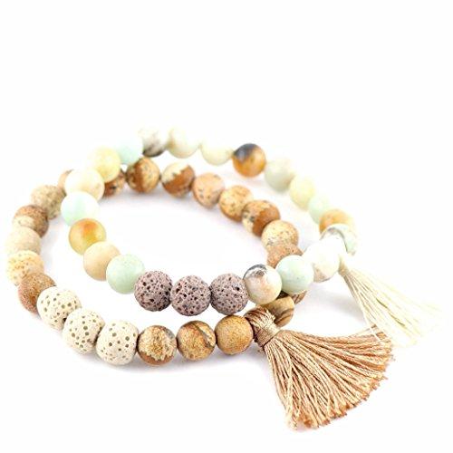 New Lava Rock Natural Stone Essential Oil Diffuser Tassel Bracelet | Distance Friendship Mala Tibetan Praying Beaded Bracelet Jewelry Box (Small-Medium, 2 Pcs Set -Be Self-Kind - Sandy Brown.) (Tri Color Love Bracelet)
