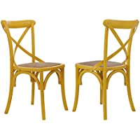 Joveco Elm Wood Dining Chair with Woven Rattan Seat, Yellow, Modern Vintage Style (Set of 2)