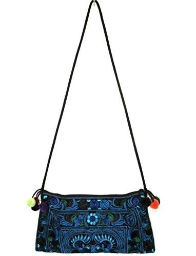 Hmong Bag Hill Tribe Ethnic Embroidered Sling Crossbody Shoulder Handmade Boho Blue