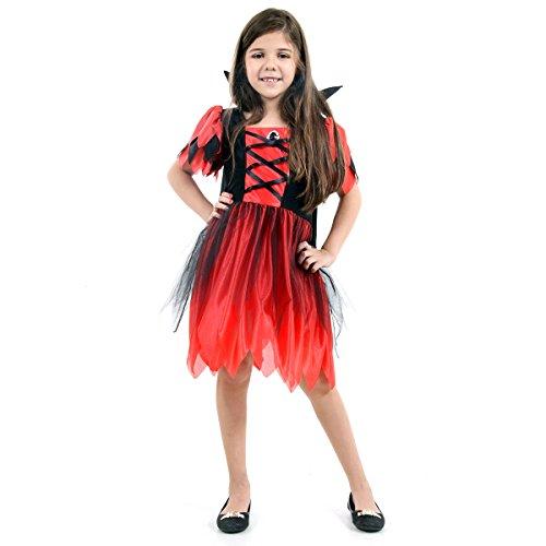Vampira Katrina Basic Infantil Sulamericana Fantasias Vermelho/Preto M 6/8 Anos