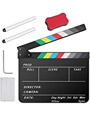 Temery Acrylic Film Clapper Board -12 x 10inch Plastic Movie Film Clap Board, Movie Theater Decor Clapboard with a Magnetic Blackboard Eraser, 2 Custom Pens, Cleaning Cloth and Hexagonal Wrench