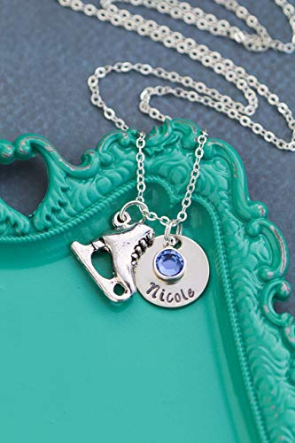 Ice Skater Necklace - DII AAA - Little Girls Winter Skating Gift - Handstamped Handmade - 5/8 Inch 15MM Disc – Personalized Custom Name - Fast 1 Day Shipping