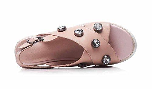 Toe Gruesas a SHINIK de sandalias Sandalias ocasionales de cuña Peep cuero genuino mano Mujer de plataforma Nuevas hechas Sandalias 2018 Verano Rosado antideslizantes xPXZx