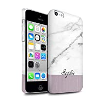 Personalized Custom Marble/Wood Gloss Case for Apple iPhone 5C / Granite/Wooden Design / Initial/Name/Text DIY Snap-On Cover