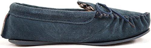 Mocassino / Pantofole In Vera Pelle Scamosciata Da Donna / Donna Con Suola In Gomma Blu Navy