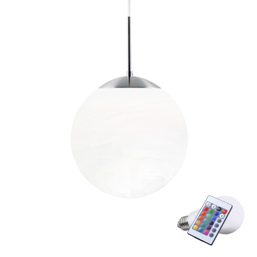 7 Watt RGB LED Pendel Leuchte Glas Kugel Hänge Lampe Farbwechsel Beleuchtung
