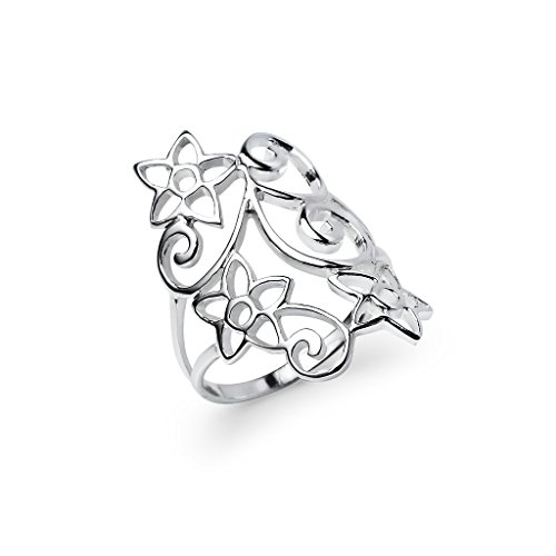 River Island Jewelry Wide Filigree Daisy Flower Ring - Sterling Silver Comfort Fit Friendship Promise Band Size 8 (Filigree Flower Ring Silver Sterling)