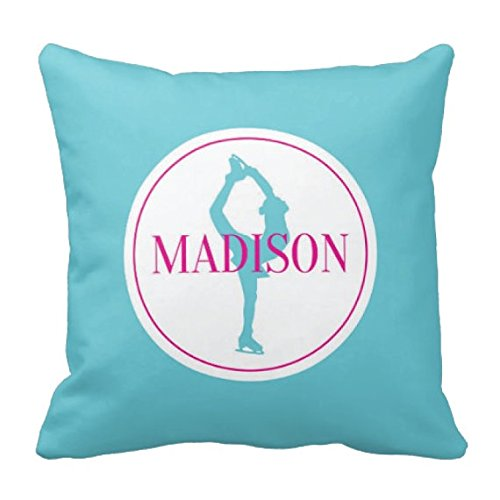 Men's Figure Skating Costume Patterns (Figure Skating Throw Pillow & Cover, Girl's Monogrammed Name, Pool, Navy, White, ANY COLOR, Custom, 14x14)