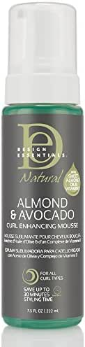 Design Essentials Natural Curl Enhancing Mousse, Quick Drying Must-Have for Perfectly Defined Luminous Curls-Almond & Avocado Collection, 7.5oz