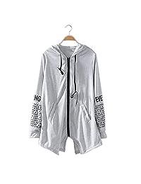 FENGDONG Women Zipper Print Sweatshirts Hem Casual Sport Party Pocket Hoodie