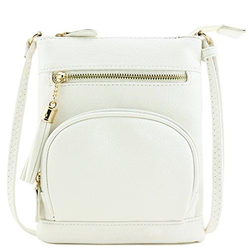 White Front Bag Zipper Half Small moon Crossbody Pocket Oq4Op8F